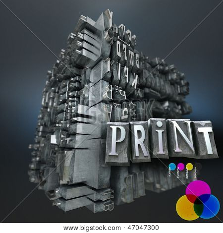Abstract image with a block of metallic printing letters with the word print and the RGB basic colors