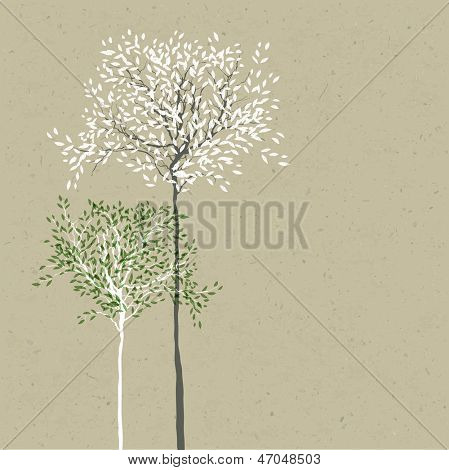 Trees background. The trunk and leaves in separate layers. Raster version, vector file available in portfolio.