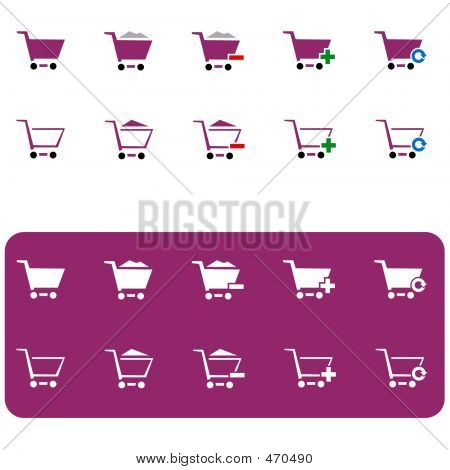 Shopping Cart Icon Set 3 (vinous)