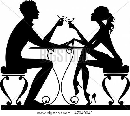 silhouette of a man and a woman at a table with a glass in hand