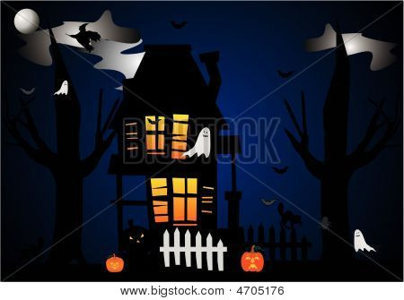 Hallowed Eve House Illustration