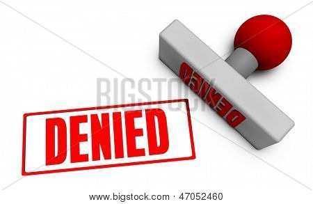 Denied Stamp or Chop on Paper Concept in 3d