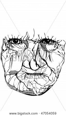 Isolated Vector Drawing of Old Woman's Face