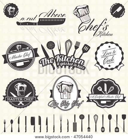 Vector Set: Retro Master Chef Labels