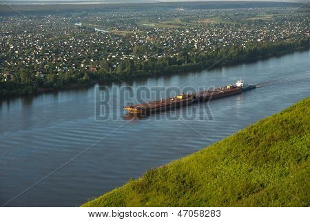 The barge on the Kama River, Russia