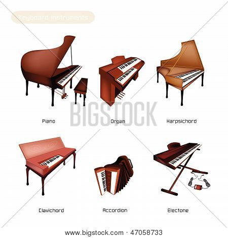 Six Keyboard Instrument Isolated On White Background