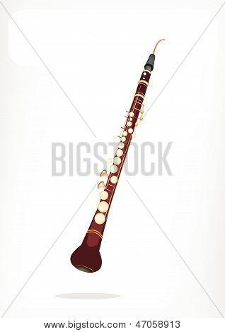 Un corno inglés Musical con una bandera blanca