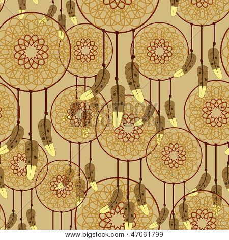 Seamless Dreamcatcher Pattern