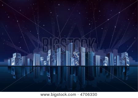 Big Fantastic City At Night
