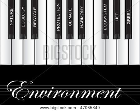 High resolution concept or conceptual white text piano keys word cloud or tagcloud isolated on black background