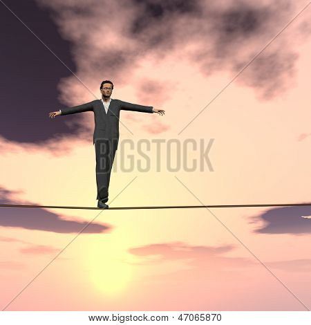 Conceptual concept of 3D businessman or man in crisis walking in balance on rope over sunset sky square background