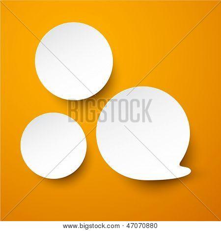 Vector illustration of white paper round speech bubble over orange. Eps10.