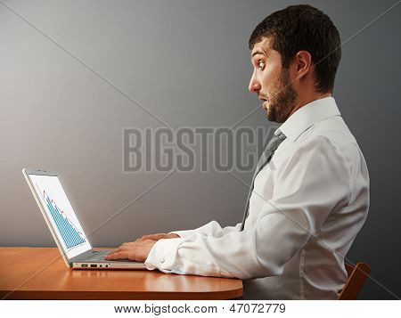 amazed businessman looking at his laptop