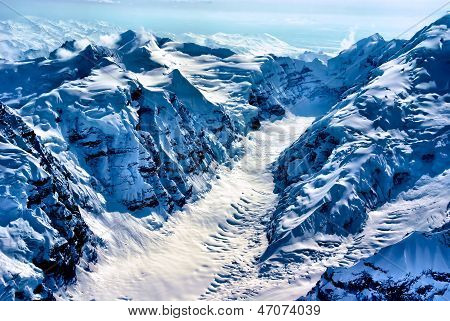 Aerial View of the Beginning of a Glacier, Denali National Park, Alaska.