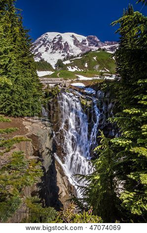 Beautiful Myrtle Falls on Mount Rainier Near Seattle, Washington.