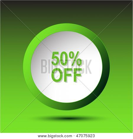 50% OFF. Plastic button. Vector illustration.