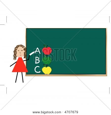 Chalk Board With Abc And Apples.