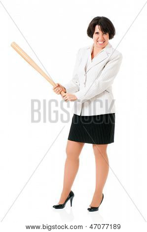 Anger business woman in suit with wooden baseball bat, isolated on white background