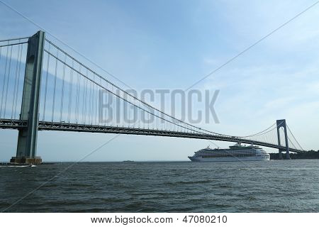 Royal Caribbean Explorer of the Seas Cruise Ship under Verrazano Bridge