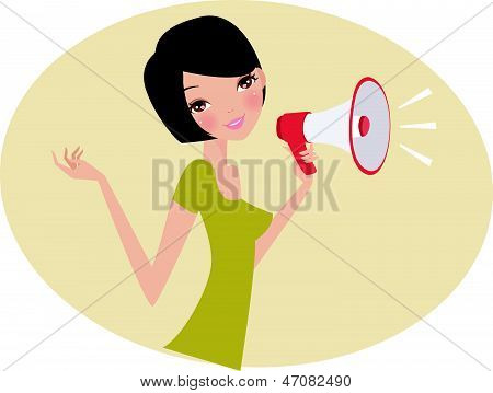 a Woman with Megaphone