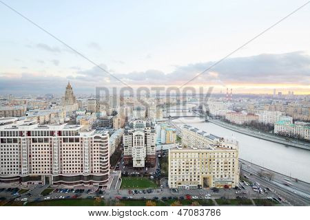 Kievsky Railway Station, Ministry of Foreign Affairs building, Moscow river in evening in Moscow, Russia.