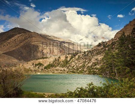 Beautiful Asian landscape, bright colors, pristine nature. Nepal