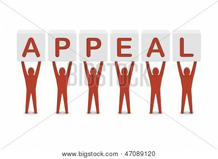 Men holding the word appeal. Concept 3D illustration.