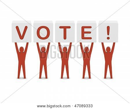 Men holding the word vote. Concept 3D illustration.