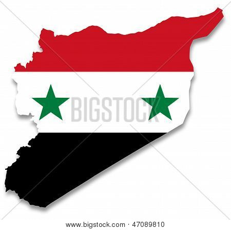 Map and flag of Syria