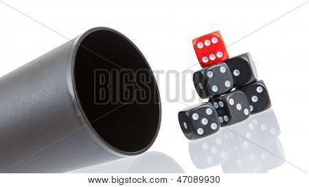 Gambling Background With Dice And Dice Cup