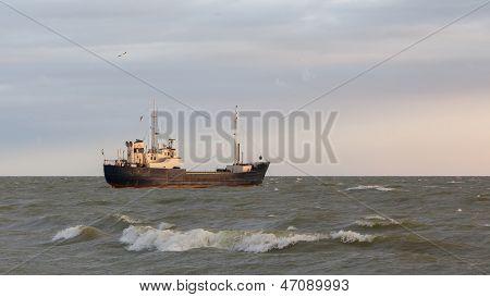 Small Coastal Vessel In The Waters Of The Dutch Ijsselmeer