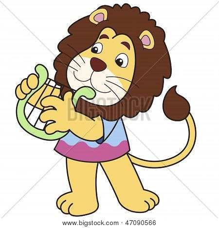 Cartoon Lion Playing A Harp