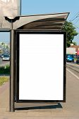 picture of bus-shelter  - Blank white billboard on the buss station - JPG