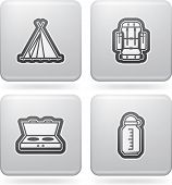 picture of tipi  - 4 icons in relations to summer outdoor activity pictured here from left to right top to bottom - JPG