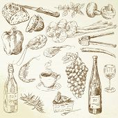 foto of vines  - set of hand drawn food - JPG