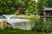 stock photo of manicured lawn  - Beautiful manicured garden with a deck overlooking a pond with a fountain that - JPG