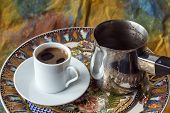 foto of coffee grounds  - Turkish greek coffee is a method of preparing coffee - JPG