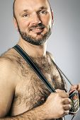 stock photo of hairy  - An image of a hairy man in bavarian tradition - JPG