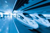 stock photo of high-speed train  - two modern high speed train with motion blur - JPG