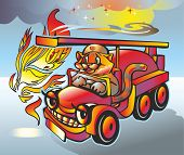 picture of tigress  - flame and smoke disturb tigress a fireman - JPG