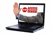 pic of denied  - Stop gesture through a laptop screen concept for internet censorship and access denied - JPG