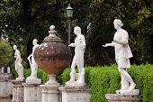 picture of garden sculpture  - Replica sculpture in the Villa Borghese garden in Rome which is a large landscape garden in the naturalistic English manner in Rome containing a number of buildings museums and attractions - JPG