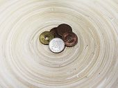 picture of japanese coin  - Japanese Hundred Yen Coin and Other Coins on Bamboo Circular Tray - JPG