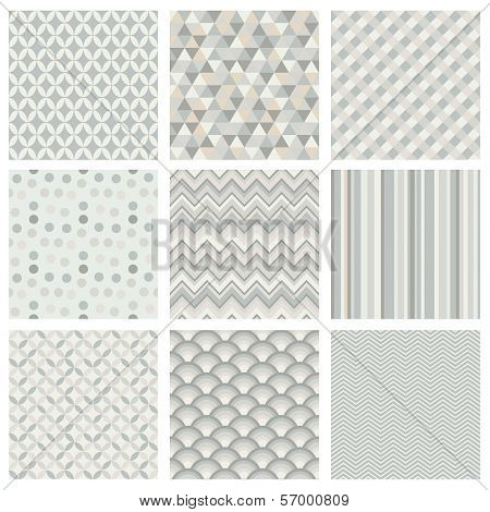 Seamless geometric hipster background set