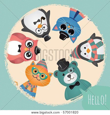 Hipster Fashion Retro Animals and Pets Card Illustration Banner Background