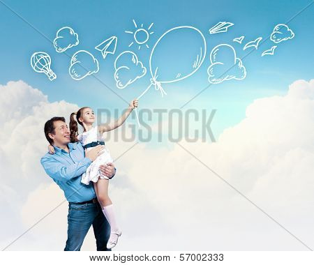 Image of happy father holding on hands daughter. Collage