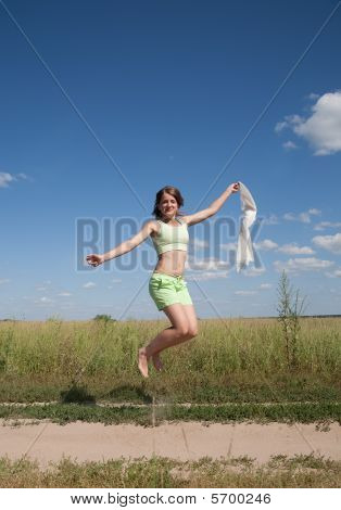 Jumping Long-haired Teen Girl