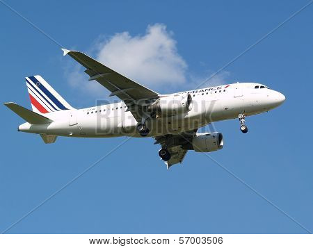 Air France Airbus A319-111 aircraft on the blue sky background