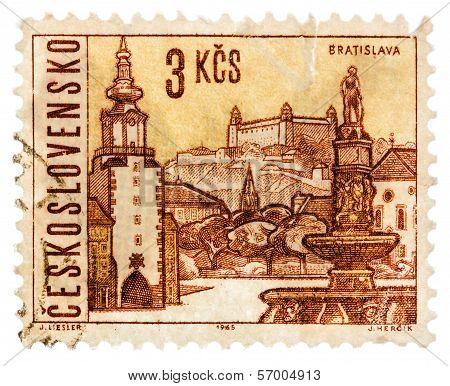 Postcard Printed In The Ussr Shows .illustration Czechoslovak City - Bratislava