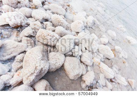 Rocks With Salt On The Dead Sea Shore, Jordan